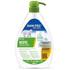 SANITEC Detergente lavapiatti manuale NEOPOL GREENPOWER, Certificato Ecolabel, Flacone da 1 litro
