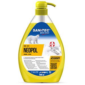 SANITEC NEOPOL PIATTI GEL Detergente lavapiatti manuale, Ultra concentrato, Agrumi, Flacone con dosatore 1000 ml