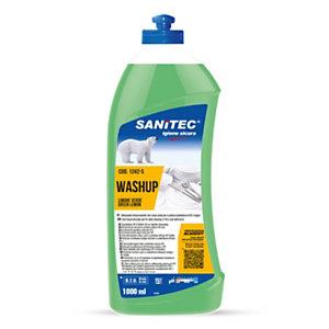 SANITEC PIATTI LIMONE VERDE Detergente lavapiatti manuale, Concentrato, Limone, Flacone con dosatore 1000 ml