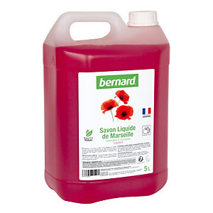 Savon liquide de Marseille Bernard, parfum coquelicot, bidon de 5 L