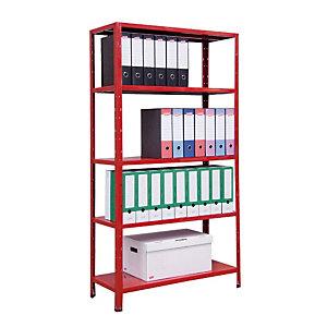 Scaffalatura metallica a 5 ripiani - Rosso - cm 100 x 40 x 187 h.
