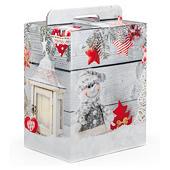 Scatola natalizia grigia con fantasia pupazzo di neve