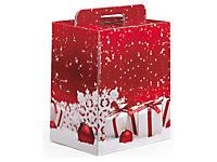 Scatola natalizia rossa con fantasia regali