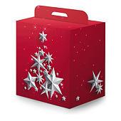 Scatola natalizia rossa fantasia stelle argento