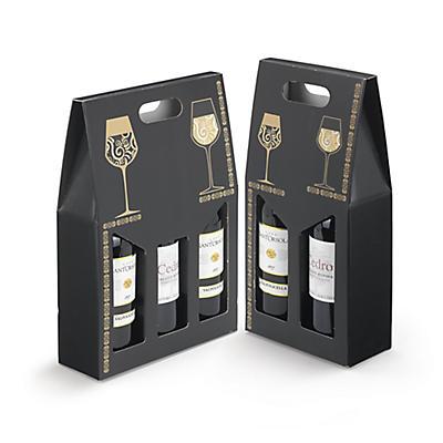 Scatola per bottiglie nera fantasia elegante