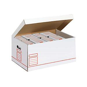Scatole archivio, Cartone ondulato, 54,5 x 36 x 25,5 cm, Bianco e Rosso (confezione 5 pezzi)