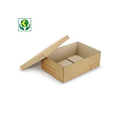 Scatole cartone due onde pallettizzabili per settore automobilistico con coperchio e maniglie