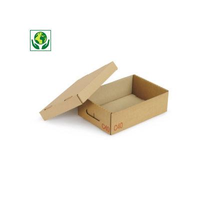 Scatole cartone un'onda pallettizzabili per settore automobilistico con coperchio e maniglie