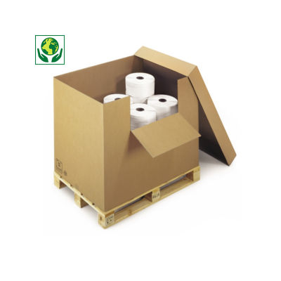 Scatole container in cartone con ribaltina e coperchio