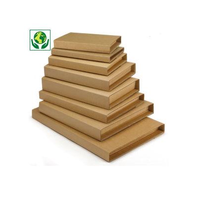 Scatole fustellate per libri con chiusura adesiva RAJABOOK STANDARD avana