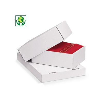 Scatole in cartone con coperchio bianche