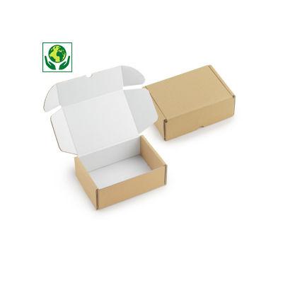 Scatole per spedizioni avana con chiusura rinforzata e interno bianco