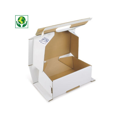 Boîte blanche antichoc avec fermeture adhésive sécurisée##Schokwerende witte postdoos met zelfklevende sluiting