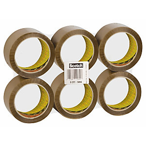 Scotch® 371 Nastro da imballo, 50 mm x 66 m, Polipropilene, Avana (confezione 6 rotoli)