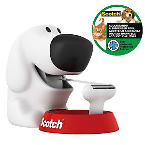 Scotch® C31 Dispensador de cinta para escritorio en forma de perro, blanco + cinta invisible de oficina Magic™, transparente, 19mm x 7,5m