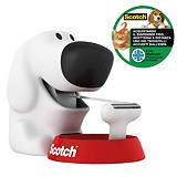 Scotch® C31 Dispensador de cinta para escritorio en forma de perro, blanco + cinta invisible de oficina Magic™, transparente, 19 mm x 7,5 m