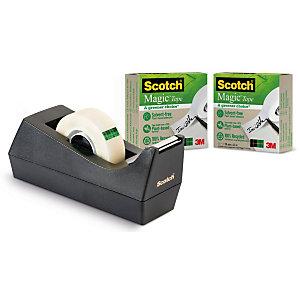 Scotch® C38 Dispensador de cinta adhesiva de escritorio negro con paquete de 3 cintas adhesivas ecológicas invisible Magic™ 19 mm x 33 m