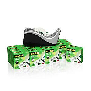 Scotch® C60 Dispensador de cinta adhesiva de escritorio ola negro/plata con cinta invisible Magic™ 19 mm x 33 m Paquete de 16