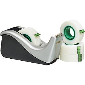Scotch® C60 Dispensador de cinta adhesiva de escritorio ola negro/plata + Magic™ Cinta invisible 19 mm x 33 m, paquete de 4