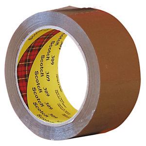 Scotch® Cinta de Embalar Polipropileno Estándar Desenrollado silencioso Ideal para ambientes fríos y/o húmedos, 50 mm x 66 m, Marrón