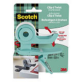 Scotch® Clip & Twist C19 Dispensador de cinta adhesiva de oficina, azul turquesa + cinta invisible de oficina Scotch® Magic™, transparente, 19 mm x 8,89 m