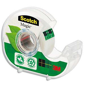 Scotch® Dévidoir de ruban à main Magic Green rechargeable, transparent en plastique recyclé 100% avec rouleau Magic recyclé