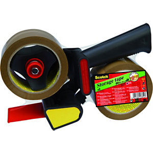 Scotch® Dispenser tendinastro manuale con impugnatura a pistola, Nero + 2 nastri adesivi in polipropilene Low Noise, 50 mm x 66 m, Avana