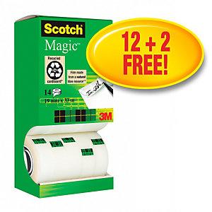 Scotch® Magic™, Confezione di nastro trasparente, 19 mm x 33 m, Confezione da 14 pezzi