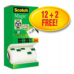 Scotch® Magic™ Pack Ahorro de 12 + 2 GRATIS, Cinta adhesiva invisible de oficina, transparente, 19 mm x 33 m