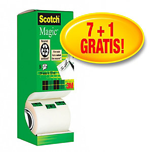 Scotch® Magic™ Pack Ahorro 7 + 1 GRATIS, Cinta adhesiva invisible de oficina, transparentes, 19 mm x 33 m