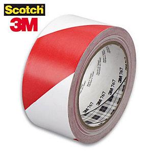 Scotch® Nastro segnaletico adesivo - Colore Bianco-Rosso - Dimensioni 50 mm x 33 m