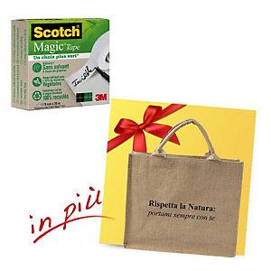 """Scotch® Offerta 12 rotoli nastro adesivo invisibile Magic™ """"A Greener Choice"""", 19 mm x 30 m + 1 borsa shopper compresa nel prezzo"""