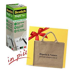 """Scotch® Offerta 18 rotoli nastro adesivo invisibile Magic™ """"A Greener Choice"""", 19 mm x 33 m + 1 borsa shopper compresa nel prezzo"""