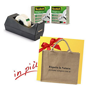 """Scotch® Offerta 3 dispenser tendinastro C38 Nero con 3 rotoli di nastro invisibile Magic™ """"A Greener Choice"""" 19 mm x 33 m + 1 borsa shopper compresa nel prezzo"""