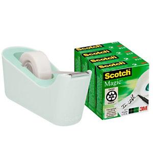 Scotch® Offerta risparmio Dispenser tendinastro C18 colore Menta + 4 nastri Magic™ 19 mm x 33 m