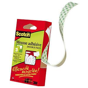 SCOTCH Ruban mousse double-face permanent Blanc 19 mm x 1,5 m