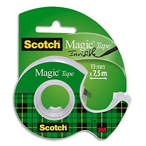SCOTCH Dévidoir de ruban à main Magic rechargeable, en plastique avec rouleau adhésif Magic 810 Invisible 19 m x 7,5 m