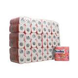 SCOTTEX Rollo de papel higiénico estándar, 2 capas, 140 hojas, en relieve, 94 mm, blanco