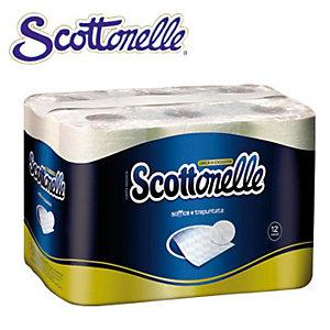 SCOTTEX Rotolo di carta igienica standard, 2 veli, Bianco (confezione 12 pezzi)