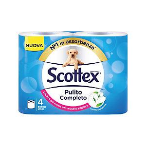 SCOTTEX Rotolo di carta igienica standard Pulito Completo, 2 veli, 320 fogli, Bianco (confezione 4 pezzi)