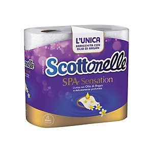 SCOTTONELLE Rotolo di carta igienica standard SPA Sensation, 2 veli, 250 fogli (confezione 4 pezzi)
