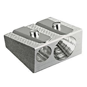 SCRIVA Temperamatite, 2 Fori, Grigio metallizzato