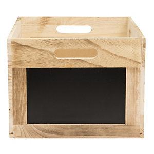 Securit® Cassetta portamenù/oggetti con manici e 2 lavagne laterali, Legno