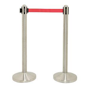 Securit® Colonna segnapercorso con nastro retrattile in nylon rosso 210 cm, Cromato