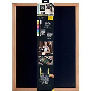 Securit® Lavagna da parete Woody con 1 marcatore a gesso liquido bianco incluso, 60 x 80 cm, Teak