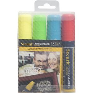 Securit® Marcatore a gesso liquido Securit, Punta a scalpello grande, Colori assortiti (confezione 4 pezzi)