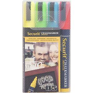 Securit® Marcatore a gesso liquido Securit, Punta a scalpello media, Colori assortiti (confezione 4 pezzi)