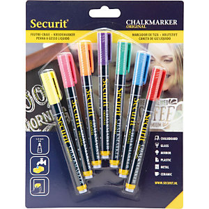 Securit® Marcatorea gesso liquido Securit, Punta tonda fine, Colori assortiti (confezione 7 pezzi)