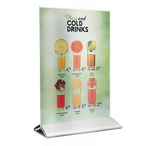 Securit® Porta Poster da tavolo in acrilico con base in acciaio, Formato A4, Trasparente