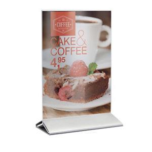 Securit® Porta Poster da tavolo in acrilico con base in acciaio, Formato A5, Trasparente